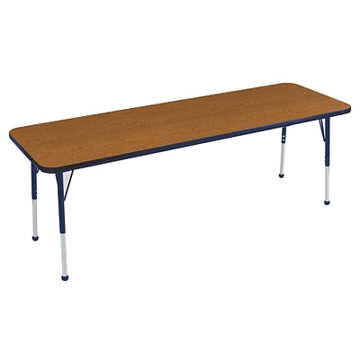 ECR4Kids Thermo-Fused Adjustable Ball 72 x 24 Rectangle Laminate Activity Table Oak/Navy (ELR-14209-OKNVNVTB)