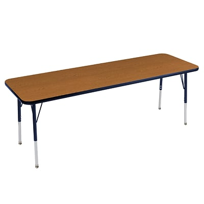 ECR4Kids Thermo-Fused Adjustable Swivel 72 x 24 Rectangle Laminate Activity Table Oak/Navy (ELR-14209-OKNVNVTS)