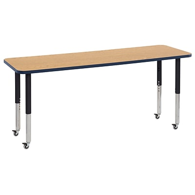 ECR4Kids T-Mold Adjustable Leg 72 x 24 Rectangle Laminate Activity Table Oak/Navy/Black (ELR-14109-OKNVBK-SL)