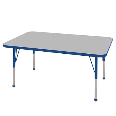 ECR4Kids Thermo-Fused Adjustable Ball 48 x 30 Rectangle Laminate Activity Table Grey/Blue (ELR-14210-GYBLBLSB)