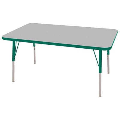 ECR4Kids Thermo-Fused Adjustable Swivel 48 x 30 Rectangle Laminate Activity Table Grey/Green (ELR-14210-GYGNGNTS)