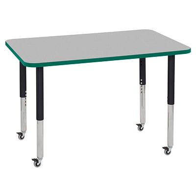 ECR4Kids Thermo-Fused Adjustable Leg 48 x 30 Rectangle Laminate Activity Table Grey/Green/Black (ELR-14210-GYGNBKSL)