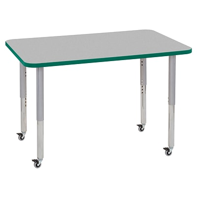 ECR4Kids T-Mold Adjustable Leg 48 x 30 Rectangle Laminate Activity Table Grey/Green/Silver (ELR-14110-GGNSV-SL)