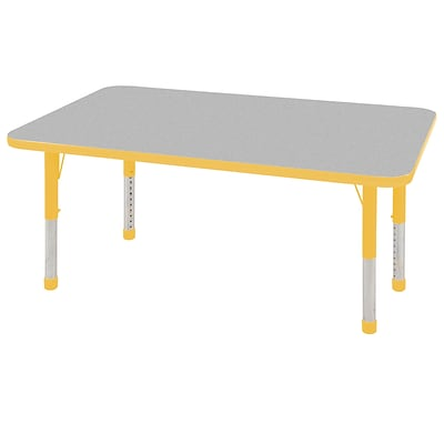 ECR4Kids Thermo-Fused Adjustable 48 x 30 Rectangle Laminate Activity Table Grey/Yellow (ELR-14210-GYYEYECH)
