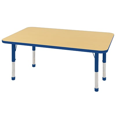ECR4Kids Thermo-Fused Adjustable 48 x 30 Rectangle Laminate Activity Table Maple/Blue (ELR-14210-MPBLBLCH)