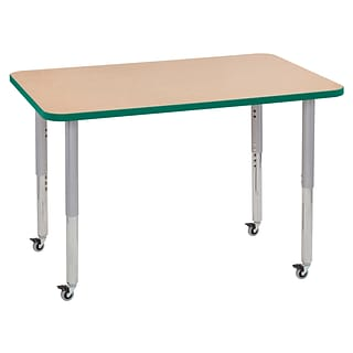 ECR4Kids Thermo-Fused Adjustable Leg 48 x 30 Rectangle Laminate Activity Table Maple/Green/Silver