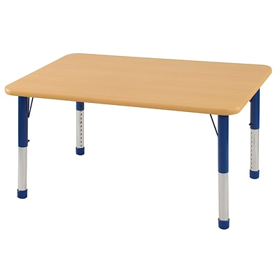 ECR4Kids Thermo-Fused Adjustable 48 x 30 Rectangle Laminate Activity Table Maple/Maple/Blue (ELR-14210-MPMPBLCH)