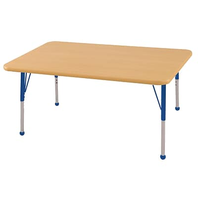 ECR4Kids Thermo-Fused Adjustable Ball 48 x 30 Rectangle Laminate Activity Table Maple/Maple/Blue (ELR-14210-MPMPBLSB)