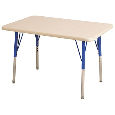 ECR4Kids Thermo-Fused Adjustable Swivel 48 x 30 Rectangle Laminate Activity Table Maple/Maple/Blue (ELR-14210-MPMPBLTS)