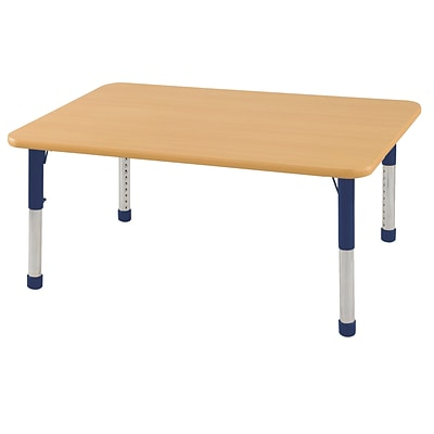 ECR4Kids Thermo-Fused Adjustable 48 x 30 Rectangle Laminate Activity Table Maple/Maple/Navy (ELR-14210-MPMPNVCH)