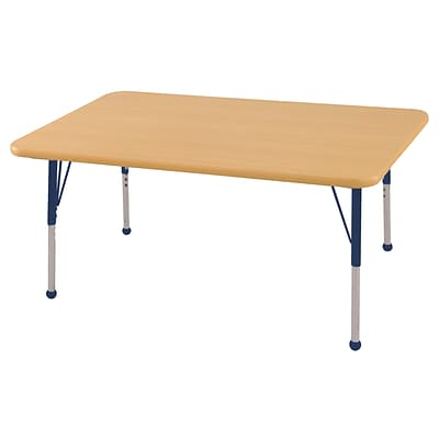 ECR4Kids Thermo-Fused Adjustable Ball 48 x 30 Rectangle Laminate Activity Table Maple/Maple/Navy (ELR-14210-MPMPNVTB)