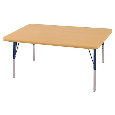 ECR4Kids Thermo-Fused Adjustable Swivel 48 x 30 Rectangle Laminate Activity Table Maple/Maple/Navy (ELR-14210-MPMPNVTS)