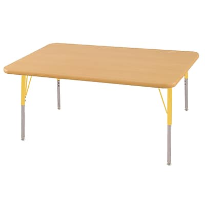 ECR4Kids Thermo-Fused Adjustable Swivel 48 x 30 Rectangle Laminate Activity Table Maple/Maple/Yellow (ELR-14210-MPMPYESS)