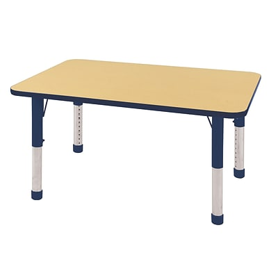 ECR4Kids Thermo-Fused Adjustable 48 x 30 Rectangle Laminate Activity Table Maple/Navy (ELR-14210-MPNVNVCH)