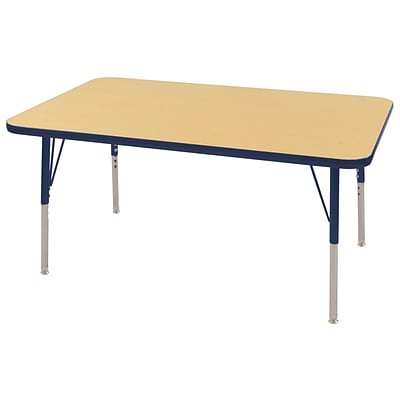 ECR4Kids Thermo-Fused Adjustable Swivel 48 x 30 Rectangle Laminate Activity Table Maple/Navy (ELR-14210-MPNVNVSS)