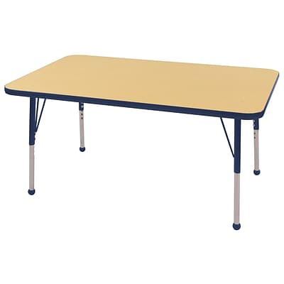 ECR4Kids Thermo-Fused Adjustable Ball 48 x 30 Rectangle Laminate Activity Table Maple/Navy (ELR-14210-MPNVNVTB)