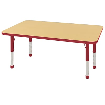 ECR4Kids Thermo-Fused Adjustable 48 x 30 Rectangle Laminate Activity Table Maple/Red (ELR-14210-MPRDRDCH)
