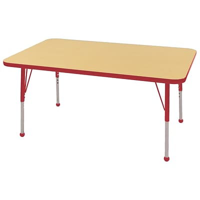 ECR4Kids Thermo-Fused Adjustable Ball 48 x 30 Rectangle Laminate Activity Table Maple/Red (ELR-14210-MPRDRDTB)