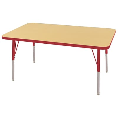 ECR4Kids Thermo-Fused Adjustable Swivel 48 x 30 Rectangle Laminate Activity Table Maple/Red (ELR-14210-MPRDRDTS)