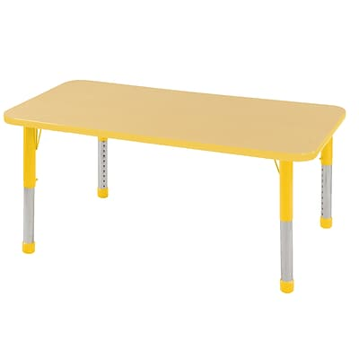 ECR4Kids Thermo-Fused Adjustable 48 x 30 Rectangle Laminate Activity Table Maple/Yellow (ELR-14210-MPYEYECH)