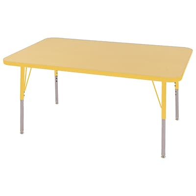 ECR4Kids Thermo-Fused Adjustable Swivel 48 x 30 Rectangle Laminate Activity Table Maple/Yellow (ELR-14210-MPYEYETS)