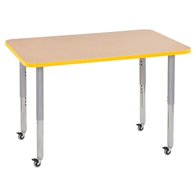 ECR4Kids T-Mold Adjustable Leg 48 x 30 Rectangle Laminate Activity Table Maple/Yellow/Silver (ELR-14110-MYESV-SL)