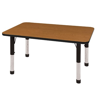 ECR4Kids Thermo-Fused Adjustable 48 x 30 Rectangle Laminate Activity Table Oak/Black (ELR-14210-OKBKBKCH)