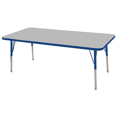 ECR4Kids Thermo-Fused Adjustable Swivel 60 x 30 Rectangle Laminate Activity Table Grey/Blue (ELR-14211-GYBLBLTS)