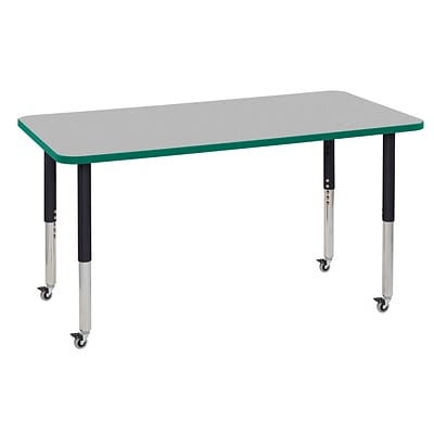 ECR4Kids Thermo-Fused Adjustable Leg 60 x 30 Rectangle Laminate Activity Table Grey/Green/Black (ELR-14211-GYGNBKSL)