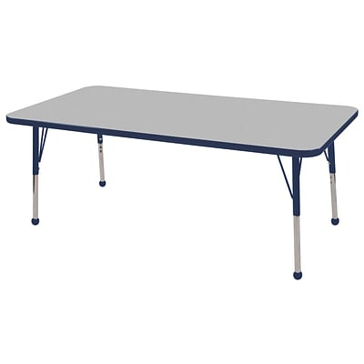 ECR4Kids Thermo-Fused Adjustable Ball 60 x 30 Rectangle Laminate Activity Table Grey/Navy (ELR-14211-GYNVNVSB)