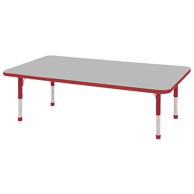 ECR4Kids Thermo-Fused Adjustable 60 x 30 Rectangle Laminate Activity Table Grey/Red (ELR-14211-GYRDRDCH)