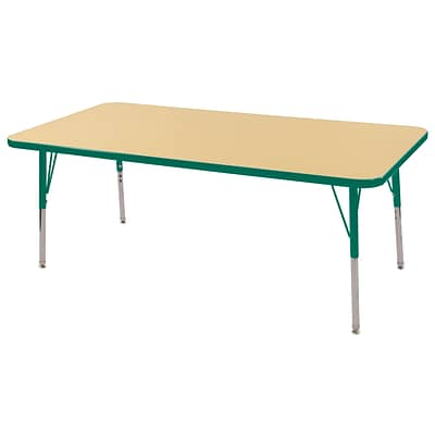ECR4Kids Thermo-Fused Adjustable Swivel 60 x 30 Rectangle Laminate Activity Table Maple/Green (ELR-14211-MPGNGNSS)