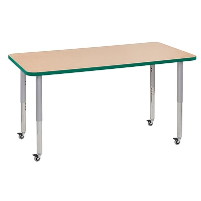 ECR4Kids Thermo-Fused Adjustable Leg 60 x 30 Rectangle Laminate Activity Table Maple/Green/Silver (ELR-14211-MPGNSVSL)