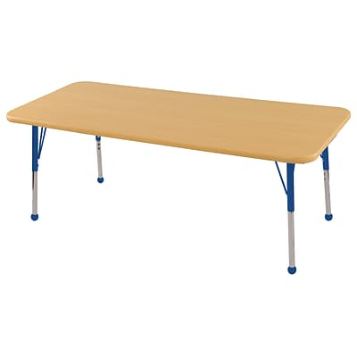 ECR4Kids Thermo-Fused Adjustable Ball 60 x 30 Rectangle Laminate Activity Table Maple/Maple/Blue (ELR-14211-MPMPBLTB)