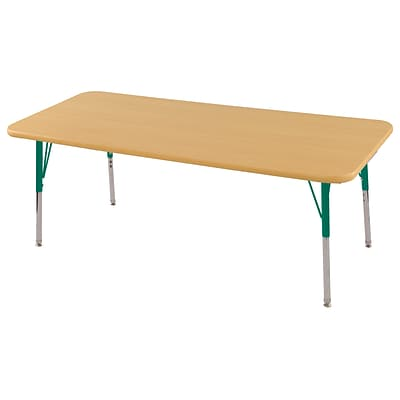 ECR4Kids Thermo-Fused Adjustable Swivel 60 x 30 Rectangle Laminate Activity Table Maple/Maple/Green (ELR-14211-MPMPGNSS)