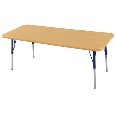 ECR4Kids Thermo-Fused Adjustable Swivel 60 x 30 Rectangle Laminate Activity Table Maple/Maple/Navy (ELR-14211-MPMPNVTS)