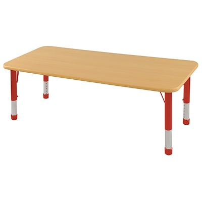 ECR4Kids Thermo-Fused Adjustable 60 x 30 Rectangle Laminate Activity Table Maple/Maple/Red (ELR-14211-MPMPRDCH)