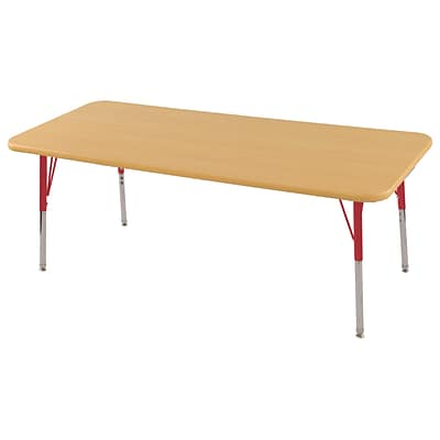 ECR4Kids Thermo-Fused Adjustable Swivel 60 x 30 Rectangle Laminate Activity Table Maple/Maple/Red (ELR-14211-MPMPRDTS)