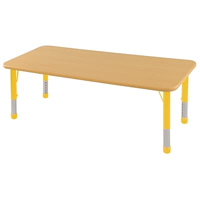 ECR4Kids Thermo-Fused Adjustable 60 x 30 Rectangle Laminate Activity Table Maple/Maple/Yellow (ELR-14211-MPMPYECH)