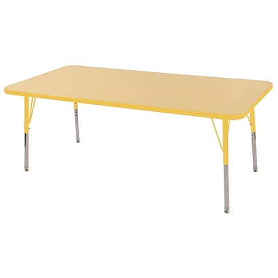 ECR4Kids Thermo-Fused Adjustable Swivel 60 x 30 Rectangle Laminate Activity Table Maple/Yellow (ELR-14211-MPYEYESS)