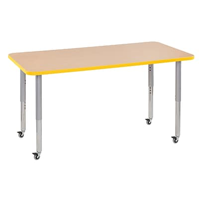 ECR4Kids Thermo-Fused Adjustable Leg 60 x 30 Rectangle Laminate Activity Table Maple/Yellow/Silver (ELR-14211-MPYESVSL)