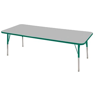 ECR4Kids Thermo-Fused Adjustable Swivel 72 x 30 Rectangle Laminate Activity Table Grey/Green (ELR-