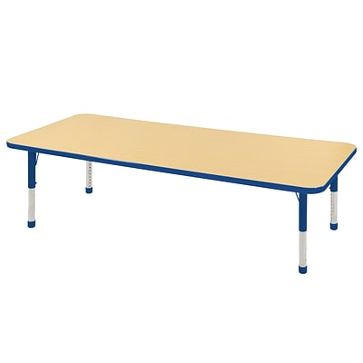ECR4Kids Thermo-Fused Adjustable 72 x 30 Rectangle Laminate Activity Table Maple/Blue (ELR-14212-MPBLBLCH)