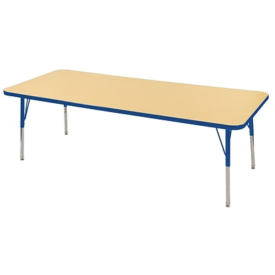 ECR4Kids Thermo-Fused Adjustable Swivel 72 x 30 Rectangle Laminate Activity Table Maple/Blue (ELR-14212-MPBLBLSS)