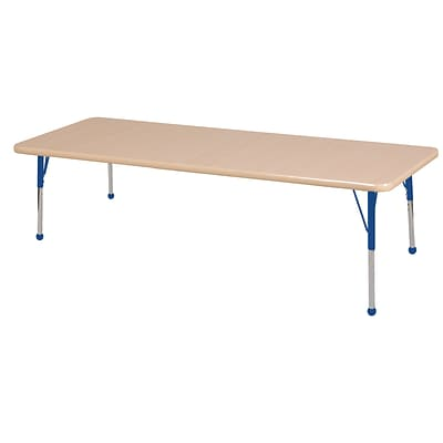 ECR4Kids Thermo-Fused Adjustable Ball 72 x 30 Rectangle Laminate Activity Table Maple/Maple/Blue (ELR-14212-MPMPBLSB)
