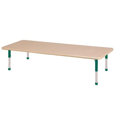 ECR4Kids Thermo-Fused Adjustable 72 x 30 Rectangle Laminate Activity Table Maple/Maple/Green (ELR-14212-MPMPGNCH)