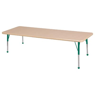 ECR4Kids Thermo-Fused Adjustable Ball 72 x 30 Rectangle Laminate Activity Table Maple/Maple/Green (ELR-14212-MPMPGNSB)