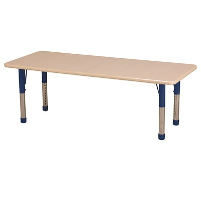 ECR4Kids Thermo-Fused Adjustable 72 x 30 Rectangle Laminate Activity Table Maple/Maple/Navy (ELR-14212-MPMPNVCH)