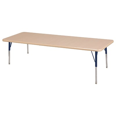 ECR4Kids Thermo-Fused Adjustable Swivel 72 x 30 Rectangle Laminate Activity Table Maple/Maple/Navy (ELR-14212-MPMPNVSS)