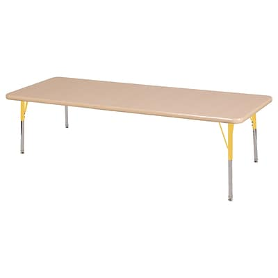 ECR4Kids Thermo-Fused Adjustable Swivel 72 x 30 Rectangle Laminate Activity Table Maple/Maple/Yellow (ELR-14212-MPMPYETS)